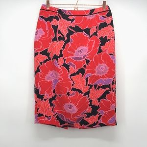 Who What Wear Red Floral Pencil Skirt